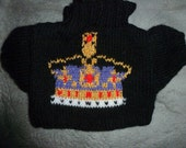Hand Knitted Black Sweater with Purple and Gold Crown to fit Build a Bear