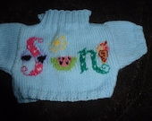 Hand Knitted Sweater with SUN written on front to fit Build A Bear
