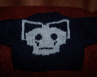 Hand knitted Sweater with Cyberman head to fit Build a Bear