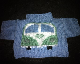 Hand Knitted Sweater with VW Camper Van to fit Build a Bear