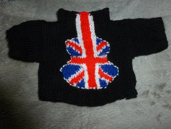 Hand Knitted Black sweater with Union Jack Guitar  to fit Build a Bear animals