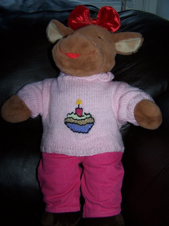 Hand Knitted Birthday Cupcake Sweater with Candle fits Build a Bear