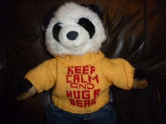 Hand Knitted Sweater Keep Calm and Hug A Bear to fit Build a Bear animals
