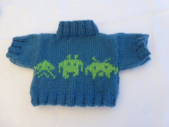 Hand Knitted Sweater with Aliens to fit Build a Bear