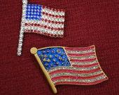 lot of two  American Flag pins one Rhinestone pin