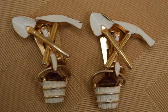 Unique Vintage Marvella pick , shovel and pail earrings