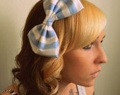 Kawaii Hair Bow- Large Fabric Bow-  Blue and White Striped Alice in Wonderland Pinup Retro Lolita