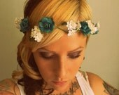 Floral Halo Crown- Turquoise, White, and Grey -Whimsical vintage Renaissance