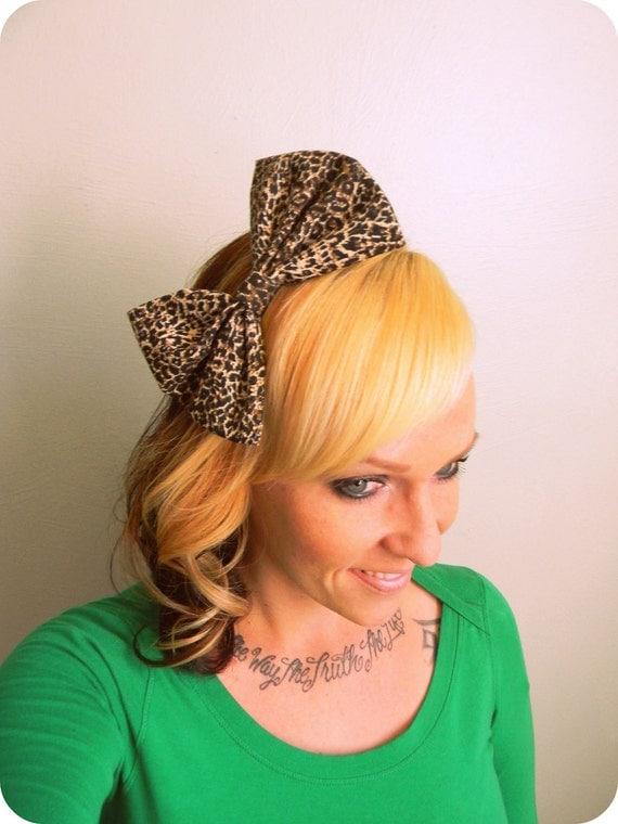 Leopard Print Hair Bow- Leopard Print Animal Cheetah -Pinup Retro Lolita Pinup Retro
