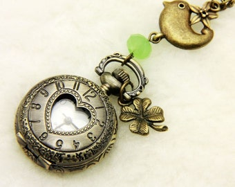 "Necklace Pocket watch ""the heart and the clover bird"""