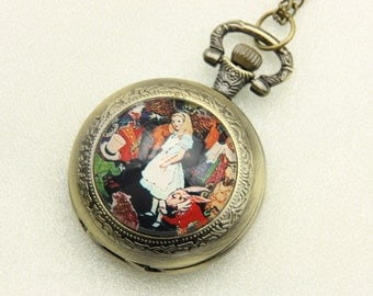 Necklace Pocket watch alice in wonderland classic