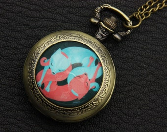 Necklace Pocket watch two fox