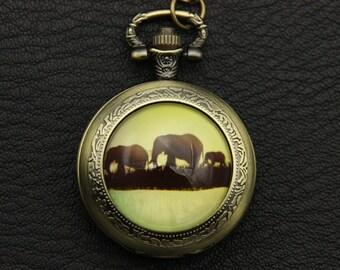 Necklace Pocket watch elephants