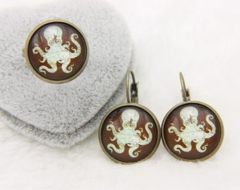 All earrings and ring Octopus