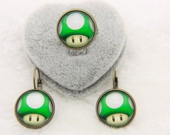 All earrings and ring green mushroom, super mario
