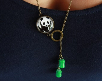 Necklace panda and bamboo
