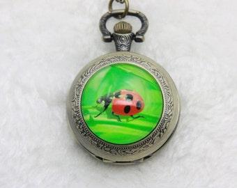 Necklace Pocket watch ladybug