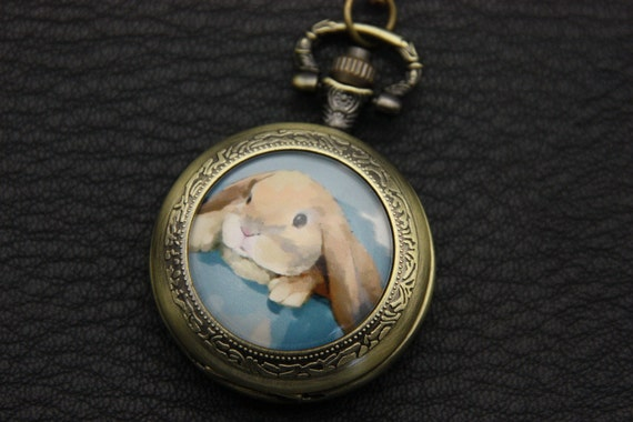Necklace Pocket watch rabbit big ear