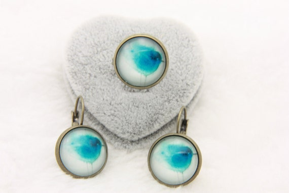 SET earrings and ring blue bird