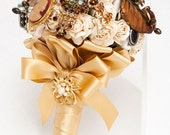 Any Gold Bouquets? Share Photos Please :  wedding bling bouquet bride ceremony diy flower fun glam gold no flower vintage wedding Il 170x135.337798396