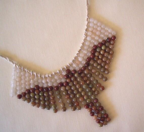 Autumn Jasper Hawk, Birders Gemstone Necklace, Earth Tones, 27 drops on Handmade 8 Ply Linen Cord, Tie On, Custom Options  215