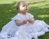 Christening baby dress. Blessing girl dress. Little princess baptism gown. White crochet christening dress 6-18 months