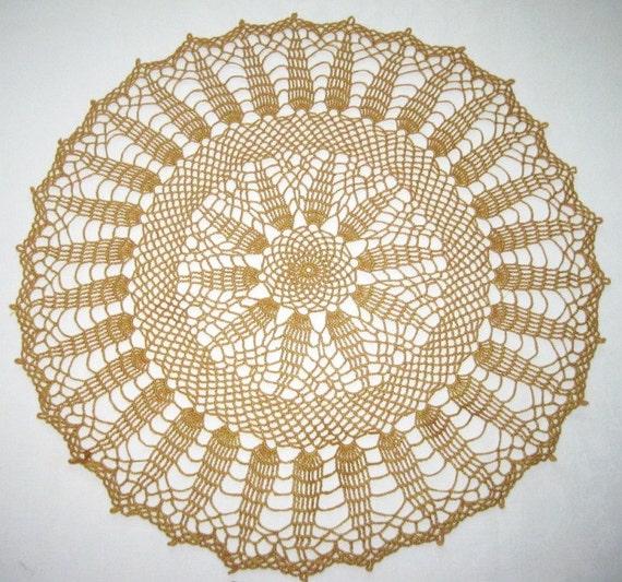 Brown crochet doily. Big brown doily. Round crochet doily. Pretty crochet doily. Doily gift. Crochet gift.