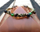 Gold Onyx and Jasper Berry Cuff Style Bracelet