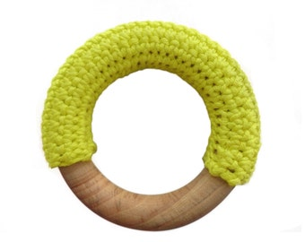 Crochet covered natural wooden baby teething ring / teether (lemon yellow)