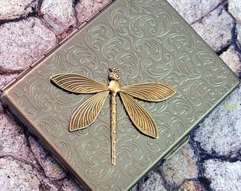 Cigarette Case Dragonfly Business Card Case Steampunk Gothic Victorian Metal Wallet