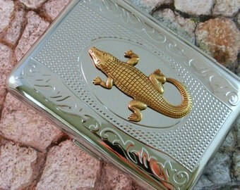 Cigarette Case Alligator Business Card Case Steampunk Gothic Victorian Metal Wallet