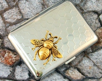 Bee Cigarette Case Business Card Case Wasp Steampunk Gothic Victorian Metal Wallet