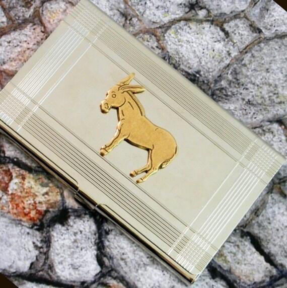 Donkey Democrat Business Card Case,   Metal Wallet, Card Holder