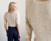 Vintage 1980's Sweater/ Cream Silk Angora Sequin Sweater small