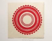 shamisha, sun - hand-printed linocut on handmade paper - hand-pulled print, relief print, block print, circle, sol, coral