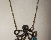 """32"""" Brass Octapus and Crystal Bead Necklace/276"""