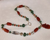 """31"""" Multi Gemstone and Carved Agate Seahorse Necklace"""