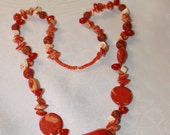 "30"" Orange Shell and Seed Bead Necklace"