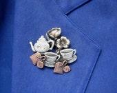 Tea For Two Brooch- Tea Lovers brooch- Tea Lovers Gift
