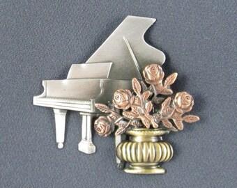 Baby Grand Piano Brooch- Piano Brooch- Piano Jewelry