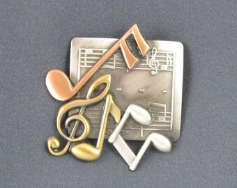 Music Brooch- Music Jewelry- Music Gift- Music Note- G Clef