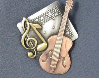 Guitar Brooch- Guitar Jewelry- Guitar Pin- Gift for Musicians