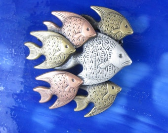 School of Fish Brooch- Fish Jewelry- Tropical Fish- Tropical Jewelry