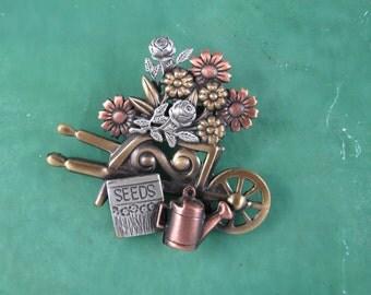 Flower Cart Brooch- Gifts for Gardeners- Gardeners Jewelry- mixed metal jewelry
