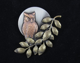 Owl by Moonlight Brooch-Owl Jewelry- Owl Pin