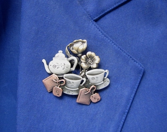 Tea For Two Brooch- Tea Lovers brooch- Tea Lovers Gift