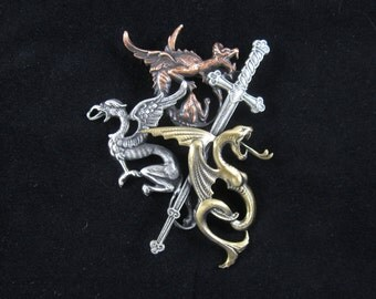 Dragons and Sword Brooch