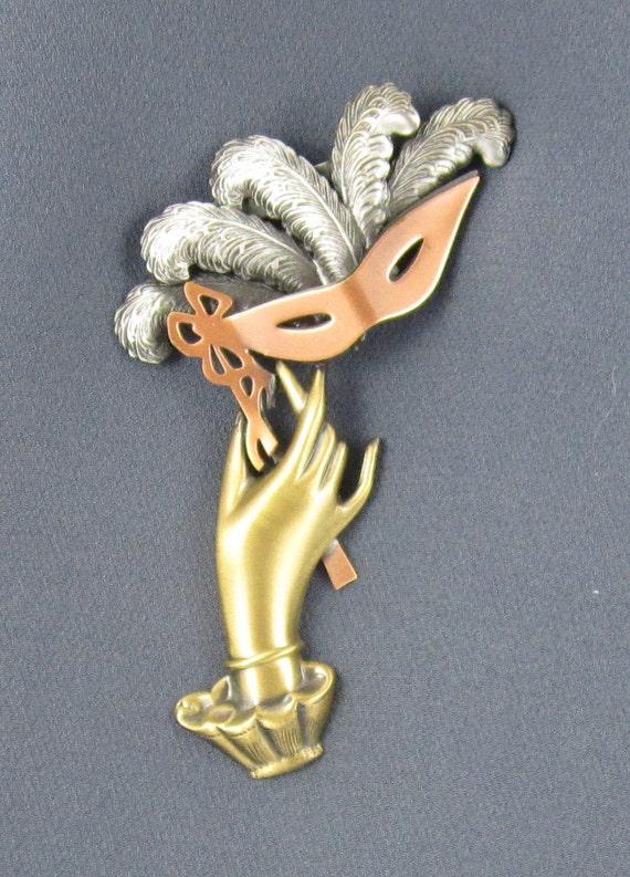 Masquerade Mask Brooch- Theater Jewelry- Mardi Gras Jewelry