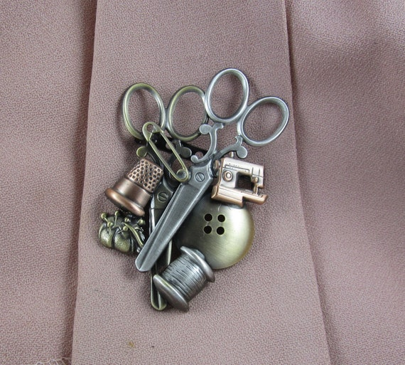 Sewing Brooch- Gifts for Sewers- Sewing Scissors- Sewing