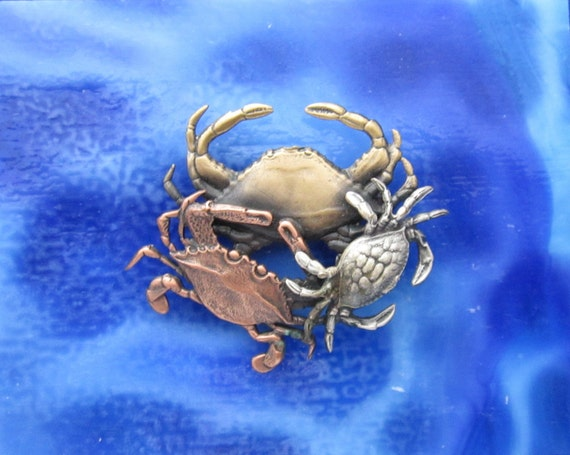 Crabs Brooch- Crab Jewelry- Maryland Crab- Cancer Crab- Hermit Crab- Blue Crab
